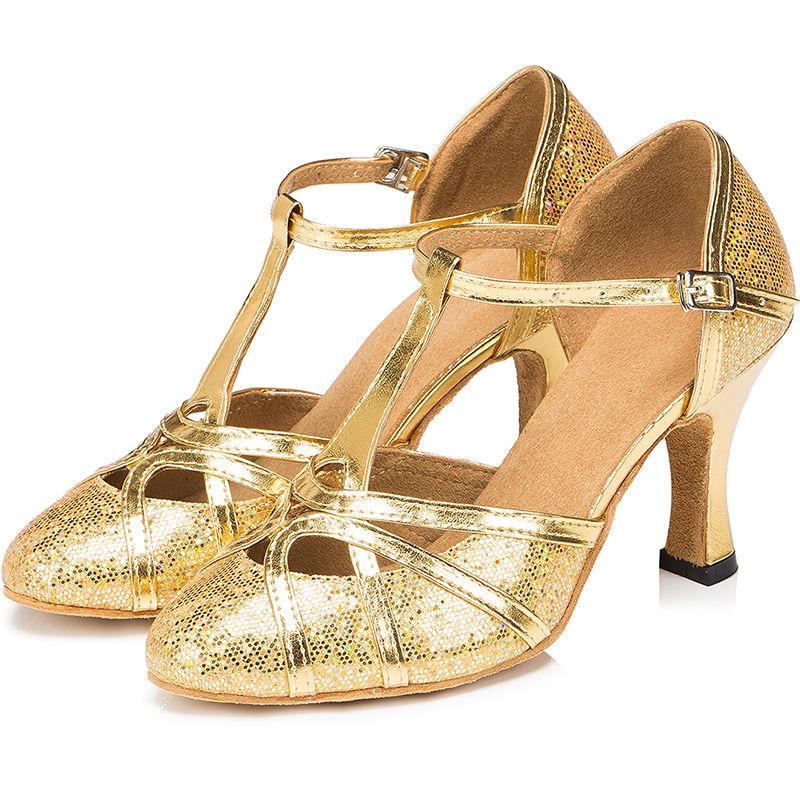 Womens-Latin-Salsa-Ballroom-Tango-Dance-Shoes-Lady-Closed-Toe-Ankle-Strap-Heels thumbnail 12